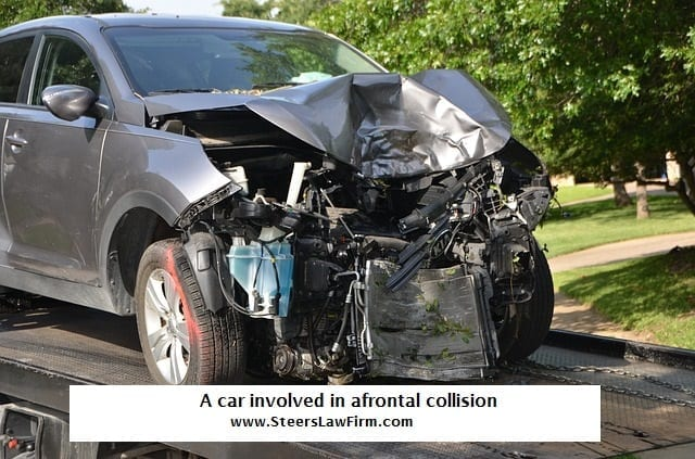 Car withfrontend damage froma frontal collision