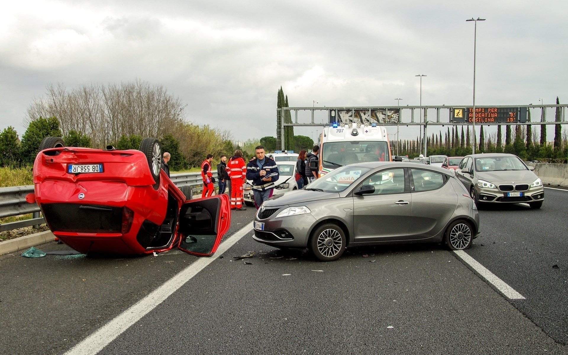 Car accident in a highway