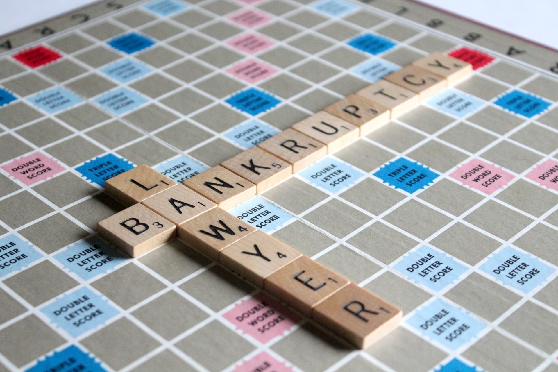 Scrabble pieces spelling out bankruptcy lawyer