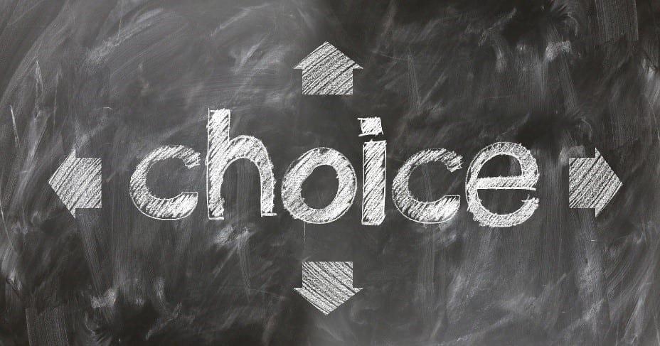 The word choice written in a blackboard