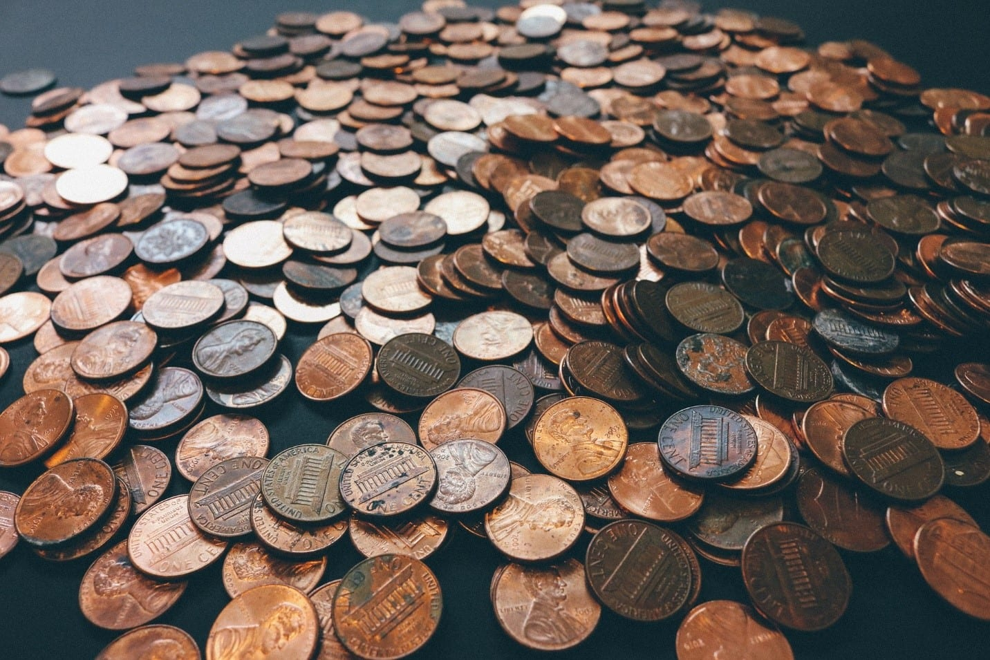 Coins scattered on a surface