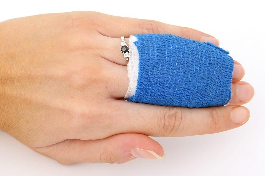 Injured fingers with bandage