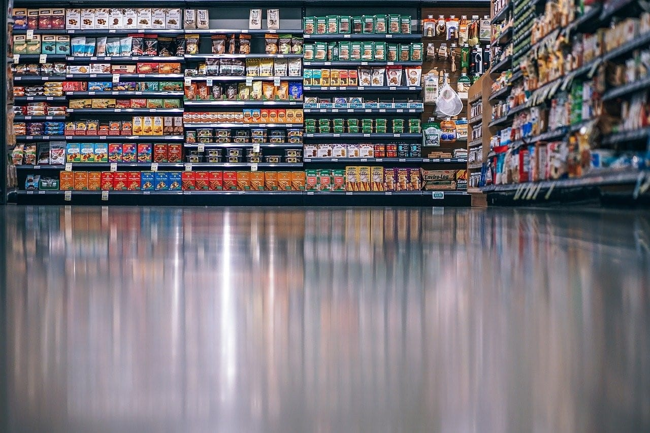 Flooring of a grocery store