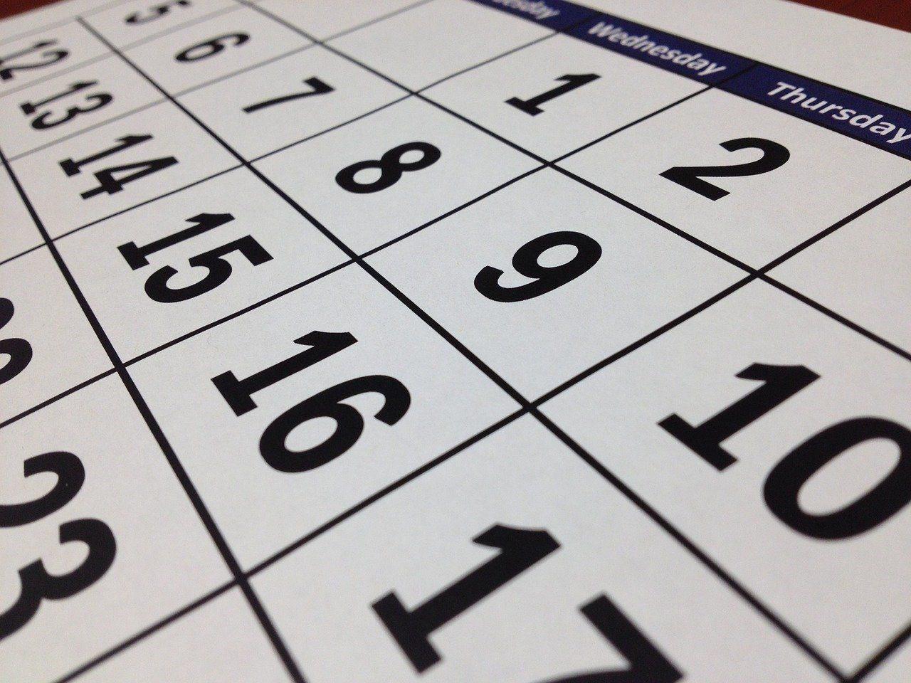 A close up view of a calendar