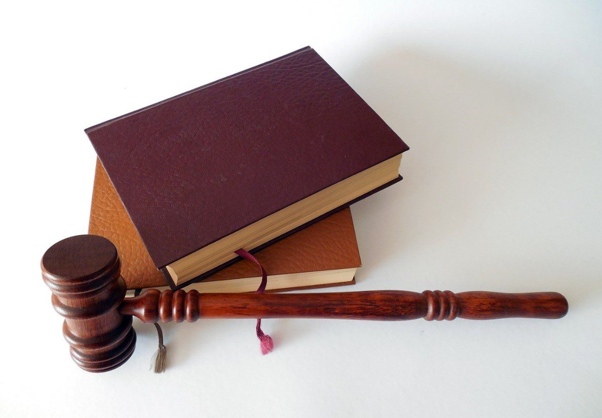 Two law books beside a gavel