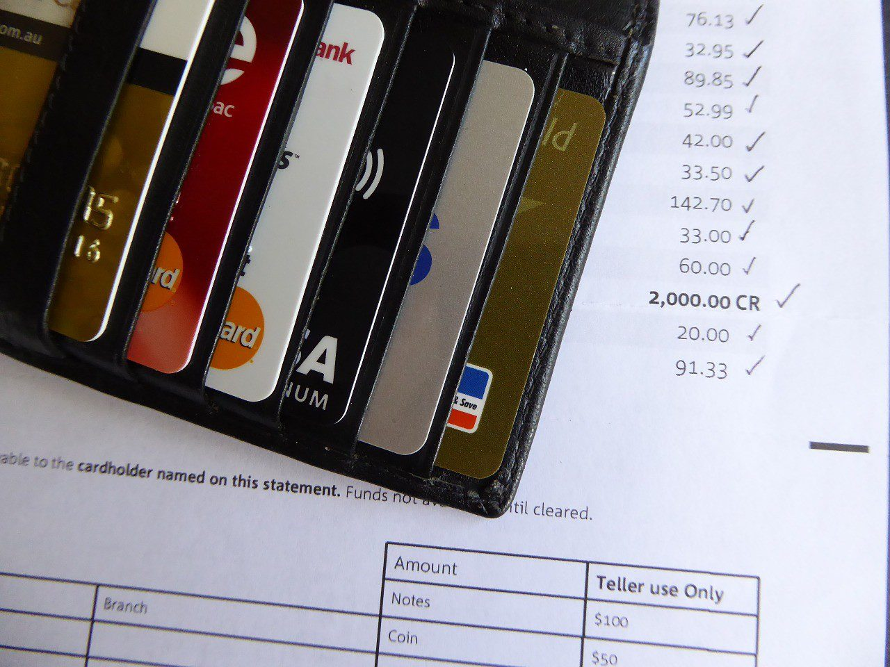 Wallet with credit cards placed on top of a document