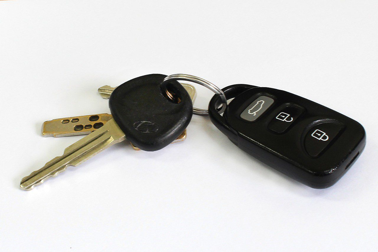 Car keys on a white surface
